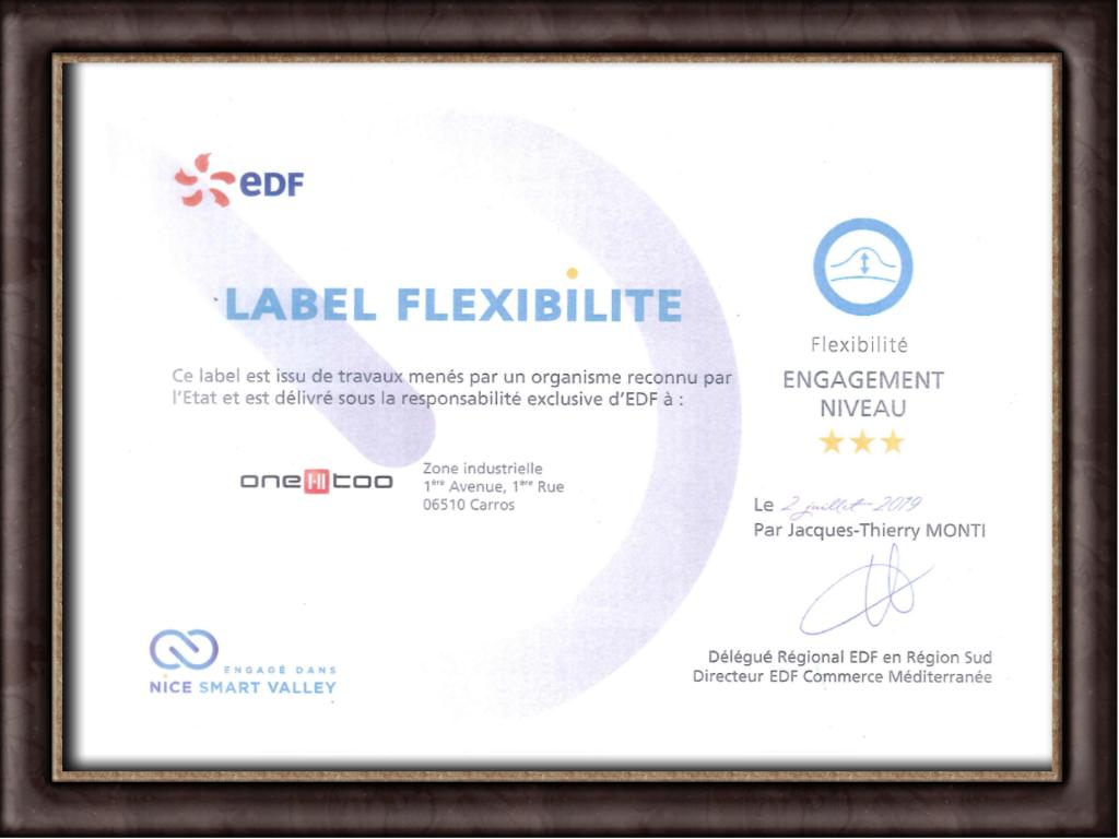 Label Flexibilité attribué à One-Too. Délivré sous la responsabilité de EDF. Engagé dans Nice Smart Valley.